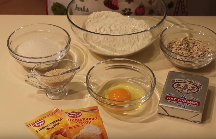 Ингредиенты для печенья из геркулеса