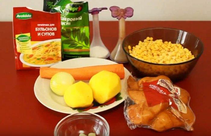 Ингредиенты для супа из гороха с копченными крылышками