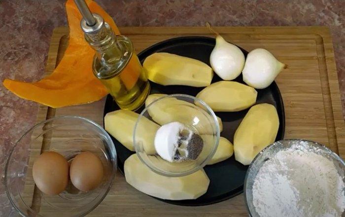Картофель, тыква и мука для драников