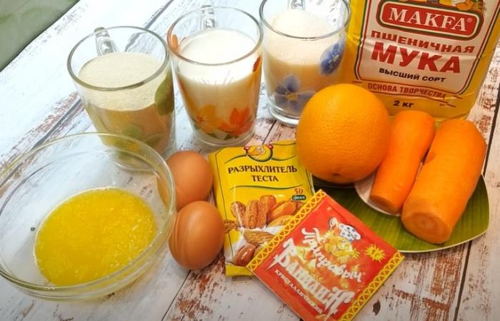 Морковь, яйца, мука и апельсин