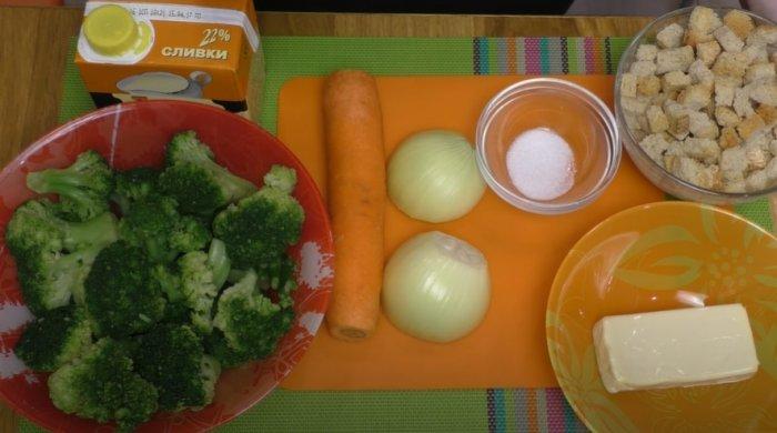 Ингредиенты для суп-пюре из брокколи