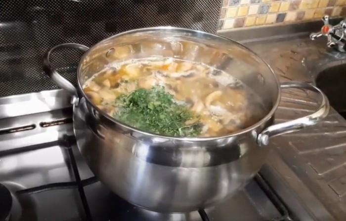 Суп с чечевицей и шампиньонами в кастрюле