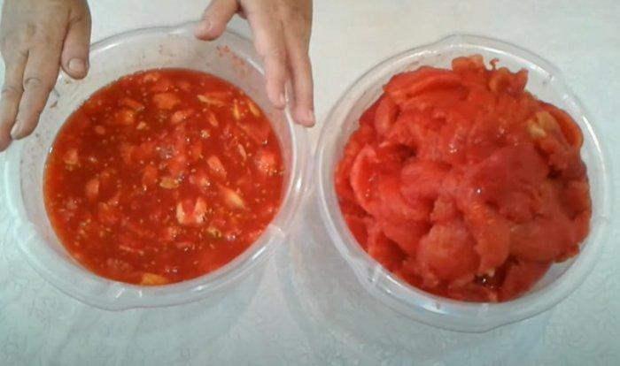 Разделанные на части помидоры