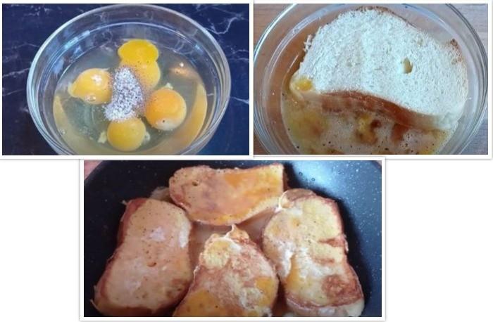 Кусочки батона вымаченые в яйцах на сковороде