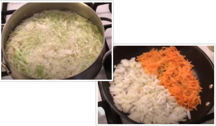 Капуста в кастрюле, а лук с морковью в сковороде готовятся