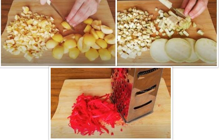 Свекла, яблоко и баклажаны