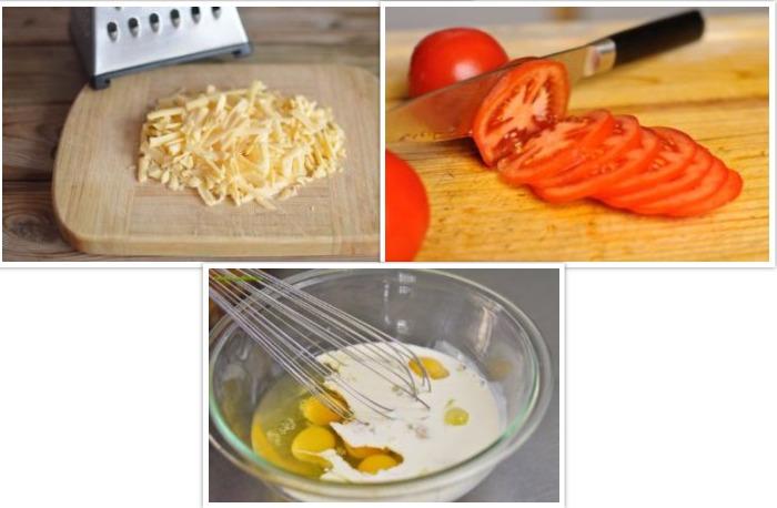 Тертый сыр, помидоры и яйца смешанные с молоком